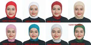 One Piece Kids Girls Muslim Amira Cap Hijab Islamic Headwear Scarf Turban Hats