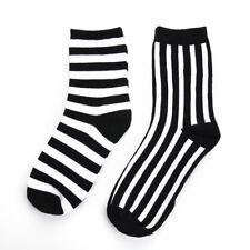 Top Fashion Mens Socks Cotton Warm Black and White Striped Casual Dress Socks B7
