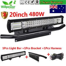 20 inch 480W 7D CREE LED Light Bar + 23'' Black Number Plate Frame Mount Bracket