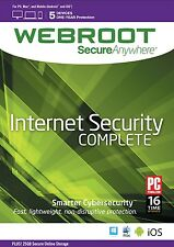 Webroot secureanywhere Internet Security completo, 5 dispositivi 1 anno nuovo download
