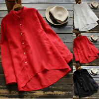 Women Plus Size Long Sleeve Cotton Blouse Ladies Tunic Casual Baggy Shirt Tops