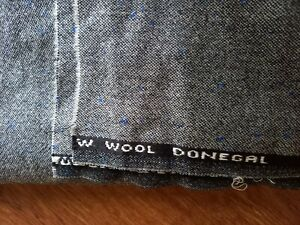 3.5m PURE NEW WOOL TWEED FABRIC, MIX GREY/BLUE DONEGAL FLECK-MADE IN SCOTLAND