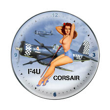 """F4U Corsair """"Nude"""" Wall Clock - Hand Made in the USA with American Steel"""