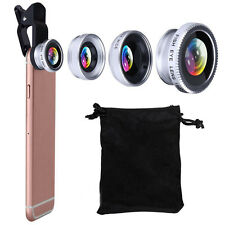 3 in1 Fish Eye+ Wide Angle + Macro Camera Clip-on Lens for Universal Phone Kit