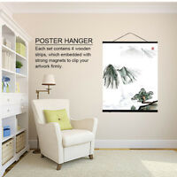 Wooden Magnetic Photo Picture Frame Wall Poster Scroll Prints Artwork Hanger DIY