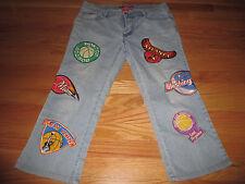 LeMore (Size 11) Girls Jeans CELTICS HEAT MAVERICKS KNICKS LAKERS BULLS Patches