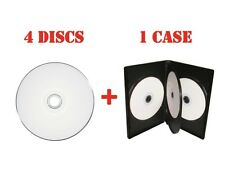 4 White Inkjet Printable DVD + R DL Dual Layer Disc + 4 Disc 14mm DVD Case