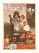 Handmade Vintage Pears Soap Ad Children Washing on Chair Cross-Stitch Pattern