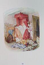 OLD PRINT BEATRIX POTTER TOM KITTEN MITTENS MOPPET IN BEDROOM c1930's VINTAGE