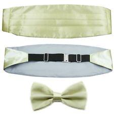 Beige Men's Adjustable Pleated Solid Cummerbund Bow Tie Pre Tied Set LJYF05