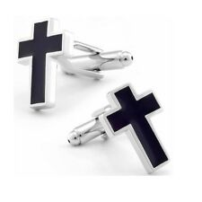 Black Christian Cross Jesus Cufflinks + Free Box & Cleaner