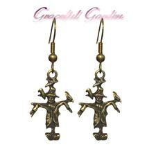 ER2500 Graceful Garden Vintage Style Bronze Tone Scarecrow Charm Dangle Earrings
