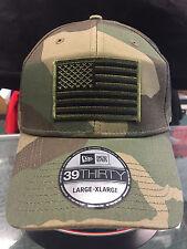 New Era NE1000 Camo FlexFit Hat/Cap With Green American Flag Patch 3 sizes