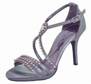 Ladies Wedding Party Heeled Evening Shoes Sandals Diamante Dark Grey Pewter NEW