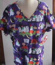 NEW Size 2X Peanuts Charlie Brown womens scrub top Pediatrics Halloween 2XL