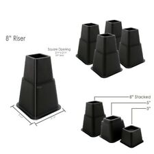 Set of 8 Black Bed Risers Adjustable Height Home Furniture Leg Support Lifters