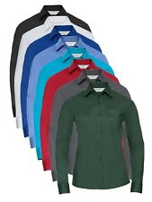 Ladies BLACK GREY GREEN RED BLUE WHITE Long Sleeve Easy Care Poplin Shirt Blouse