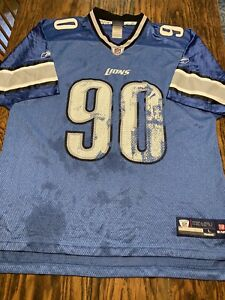 NDAMUKONG SUH Detroit Lions NFL Equip. On Field Reebok JERSEY Large DISTRESSED