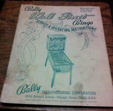 Bally Walk Street Bingo Pinball Machine Manual - used original