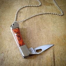 Natural Wood Knife Pendant Necklace Silver Charm Chain Jewelry Mini Folding