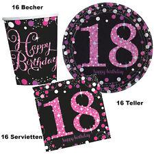 48 tlg. Party Tisch Deko Set Paket 18. Geburtstag Pink Teller Becher Servietten