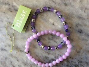 Blaze elasticated bead bracelets x2 pink purple blue silver tone amethyst BNWT