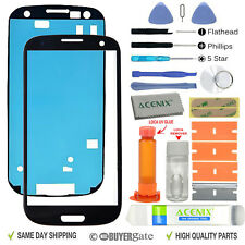 Samsung Galaxy S3 Front Glass lens Screen Replacement Repair Kit Black + UV Glue
