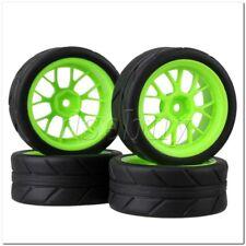 4x RC1:10 On Road Car Y Shape Green Wheel Rim & Black Arrow Pattern Rubber Tyre