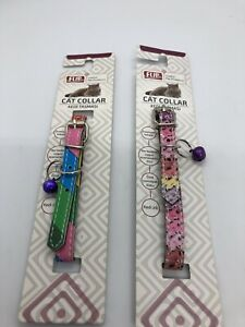 "2 Cat Collars with Bell Adjustable Closure 8"" 10 Inches"
