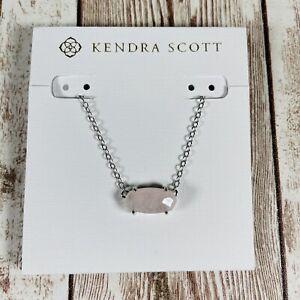 "NWT Kendra Scott Ever Pendant Necklace Pink Rose Quartz / Silver 15"" Chain NIP"