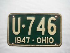1947 Ohio License Plate Tag