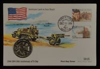 Turks and Caicos Coin and Stamp First Day Cover, 1994, D-Day 50th Anniversary
