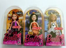 Lot of 3 Barbie Chelsea Dolls Halloween 2014 Pumpkin Ghost Witch Costumes