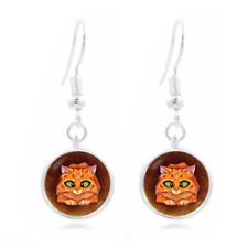 Funny cat Photo Art Glass Cabochon 16mm Charm Earring Earring Hooks