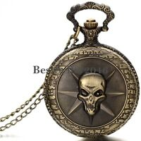 Retro Bronze Tone Gothic Skull Pocket Watch Pendant Necklace Womens Mens Gift