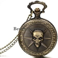 Retro Bronze Tone Gothic Skull Pocket Watch Pendant Necklace Womens Mens Gift