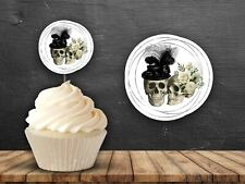 12 Skull Wedding Couple Cupcake Toppers Party Cake Gothic Floral Hat Hen Party