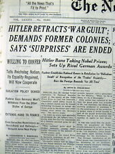 1937 NY Times newspaper ADOLPH HITLER SPEECH with HIS DEMANDS Leads Way to WW II