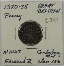 C347 England, AR Long Cross Penny of Edward II, 1320-35, Class 15b, Canterbury D