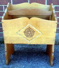 Art Deco antique carved solid oak Tudor rose bookcase magazine rack Canterbury