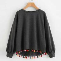 Womens Casual Long Sleeve Tassel Sweatshirt O-Neck Pullover Shirt Blouse Tops UK