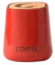 Red Cubo Barattolo Caffè Ermetico fatta da prezzo & Kesington con coperchio in rovere