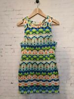 Indikah Short Summer Dress With Bright Pattern Size 10 Boho Casual Multicoloured