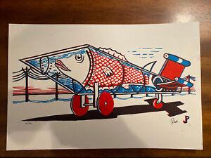 Jim Pollock Aqua Rocket Linocut Print Phish Poster Signed/numbered #225