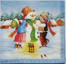 SNOWMAN KIDS WINTER 2 single LUNCH SIZE paper napkins for decoupage 3-ply