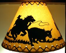 Oiled Kraft Suede Laced RUSTIC LAMPSHADE COWBOY & Calf 14""