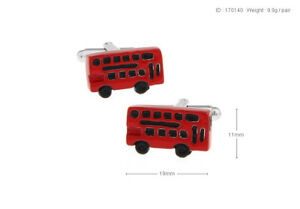 Novelty Red Bus Rectangle Men's Cufflinks Shirt Suit Party Cuff Links