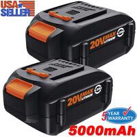 2X 20 Volt 5.0Ah WA3520 For Worx 20V Lithium Battery WA3575 WA3525 WG151s WG155s