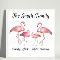 personalised family flamingo bird pink box frame picture print glitter detail