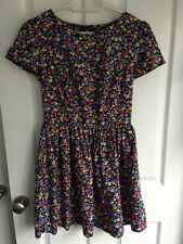 Black, pink & yellow floral skater/swing mini dress - size 10